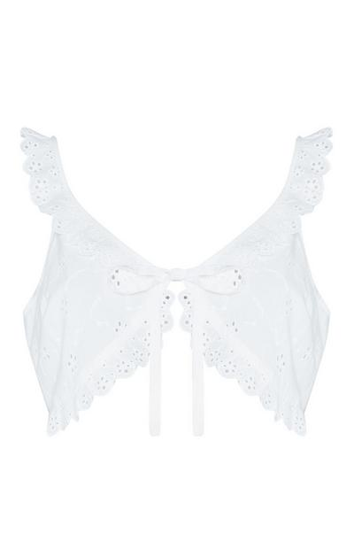 White Embroidered Crop Top