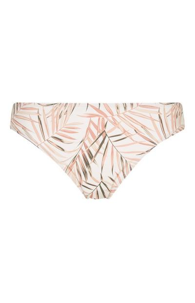White And Pink Leaf Print Underwire Brief