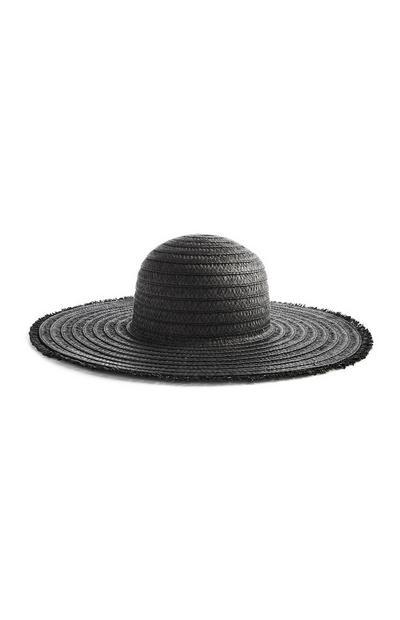 Black Frayed Edge Floppy Hat