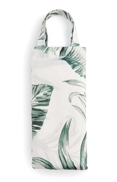 White Leaf Print Shower Curtain