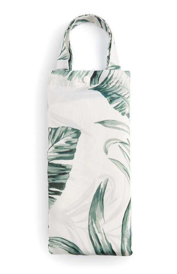 Cortina de ducha blanca con estampado de hojas