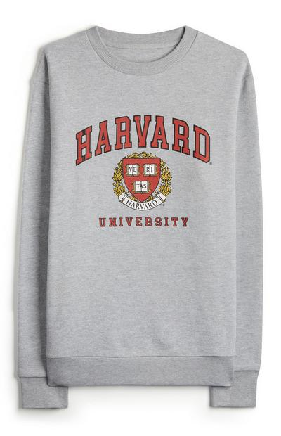 Gray Harvard Crew Neck Sweatshirt