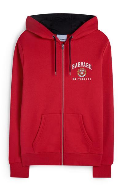 Red Harvard Zip Hoodie
