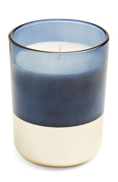 Vela en vaso azul