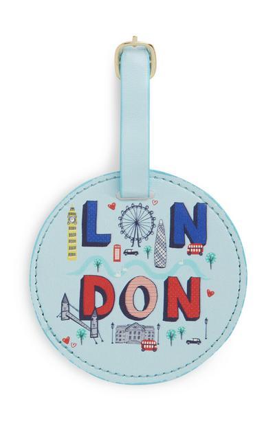 Blue London Luggage Tag