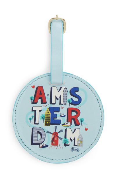 "Blauer ""Amsterdam"" Gepäckanhänger"