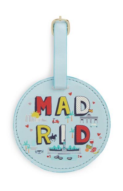 Etiqueta bagagem Madrid azul
