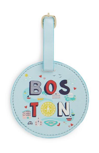 Blue Boston Luggage Tag