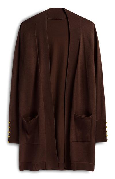 Brown Formal Cardigan With Pockets