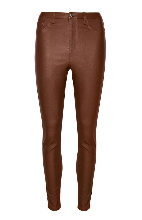 Brown High Waisted Coated Trousers
