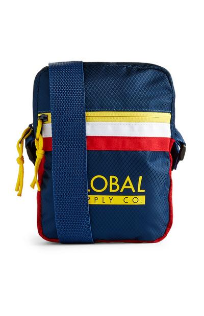 Mala tiracolo múltiplos bolsos Global Supply azul