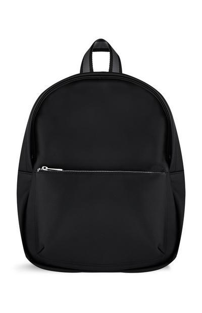 Schwarzer Rucksack mit Reißverschluss vorne