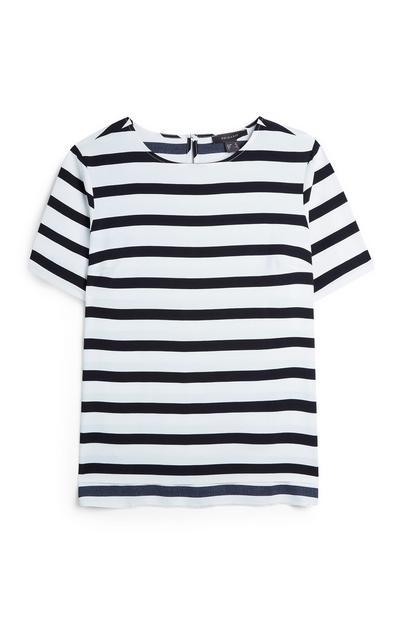 White And Black Stripe Horizontal T-Shirt