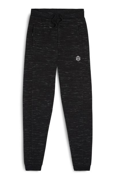 Older Boy Black Ribbed Joggers