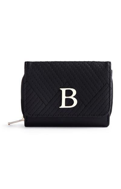 Black Quilted B Initial Medium Purse