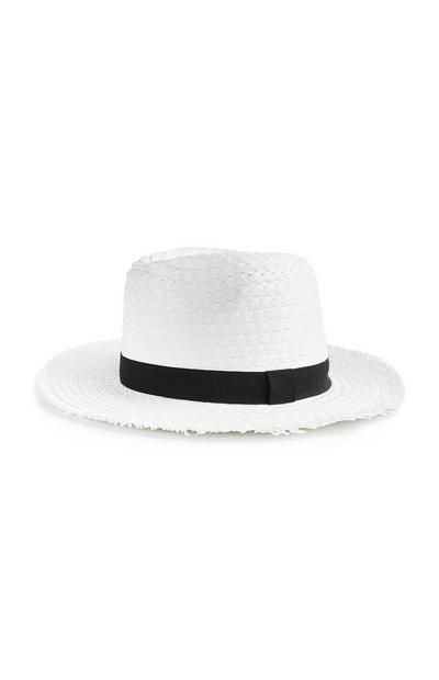 White Frayed Edge Panama Hat