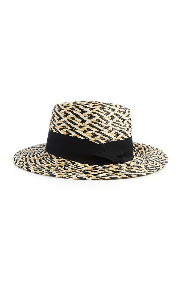 Black And Cream Textured Weave Fedora
