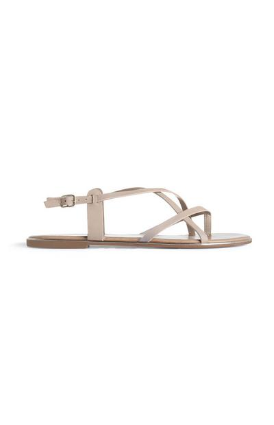 Nude Strappy Knot Thong Sandals