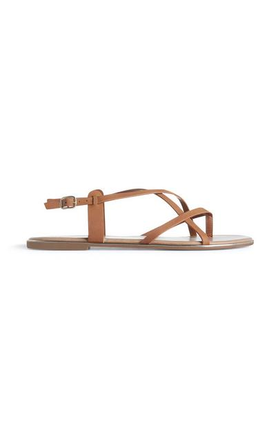 Tan Strappy Knot Thong Sandals