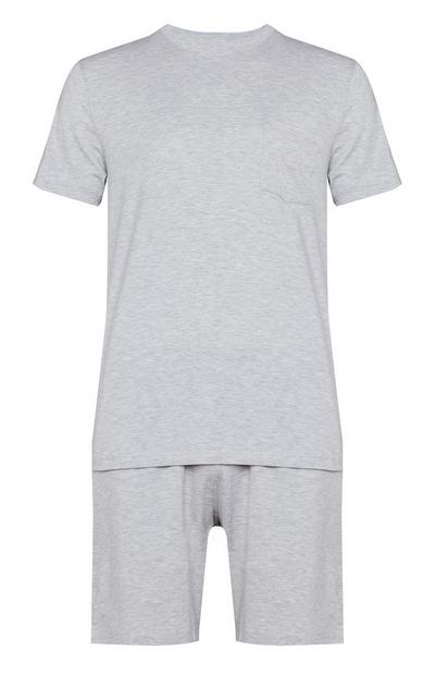 Grey Pima Cotton Short Sleeve T-Shirt And Shorts