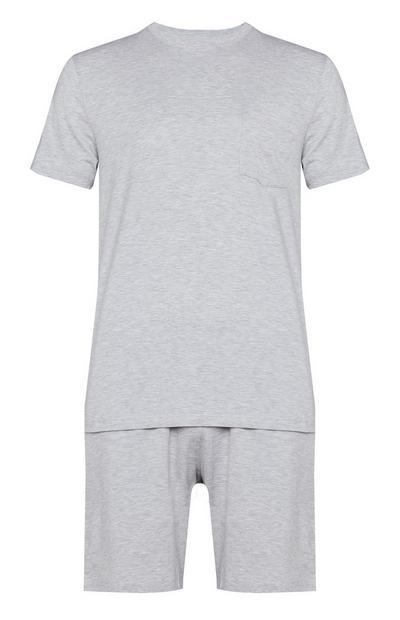 Camiseta de manga corta y pantalón corto de algodón Pima gris