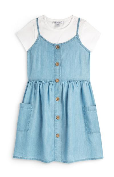 Younger Girl Chambray 2 In 1 Dress