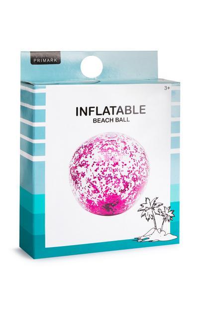 Roze opblaasbare strandbal met glitter
