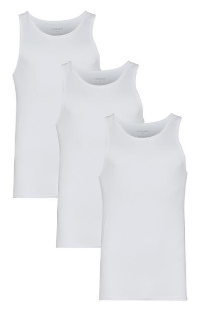 White Sleeveless Vests 3Pk