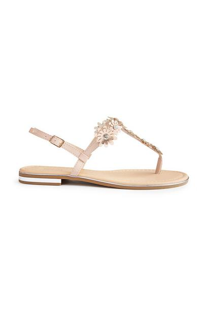 Beige Rhinestone Flower Sandals