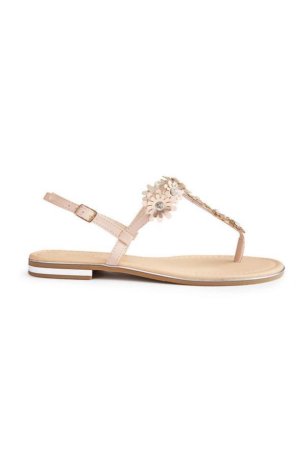 Beige Rhinestone Flower Sandals