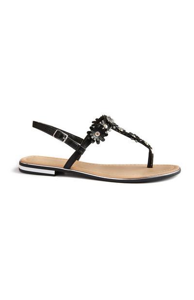 Zwarte sandalen met bloem met stras