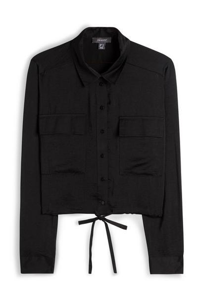 Black Satin Drawstring Shirt