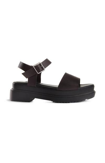 Black And Brown Chunky Sole Sandal
