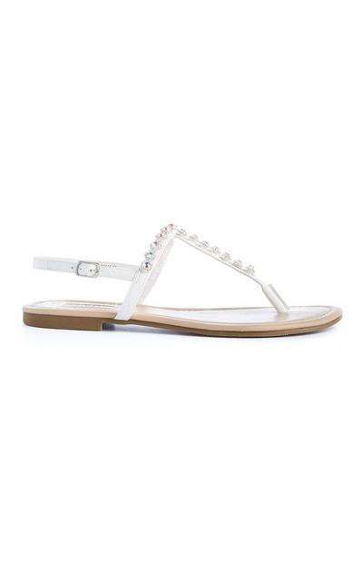 Witte sandalen met strass