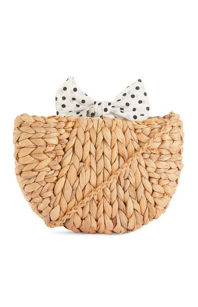 Straw Polka Dot Scarf Cross Body Bag