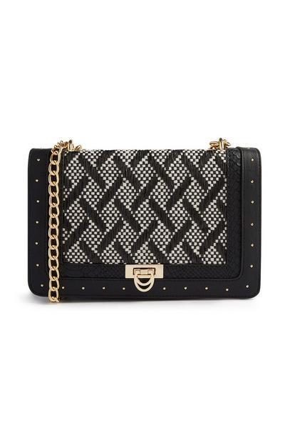 Black Mixed Weave Straw Crossbody Bag