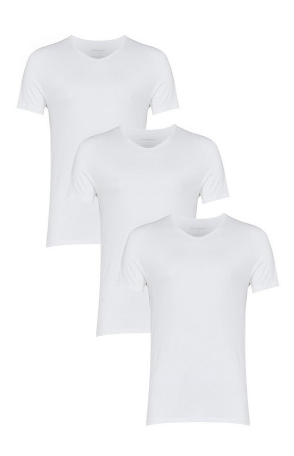 3-Pack White V Neck T-Shirts
