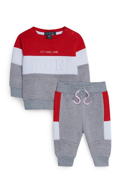 Baby Boy Gray And Red Crew Neck Sweatshirt And Joggers