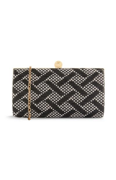 Black And Grey Wicker Clutch Bag
