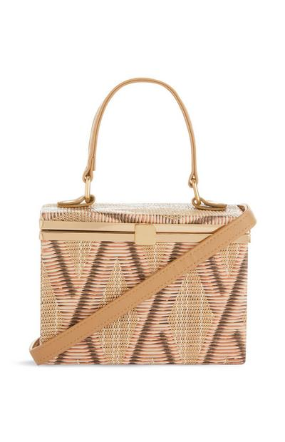 Straw Hard Box Crossbody Bag