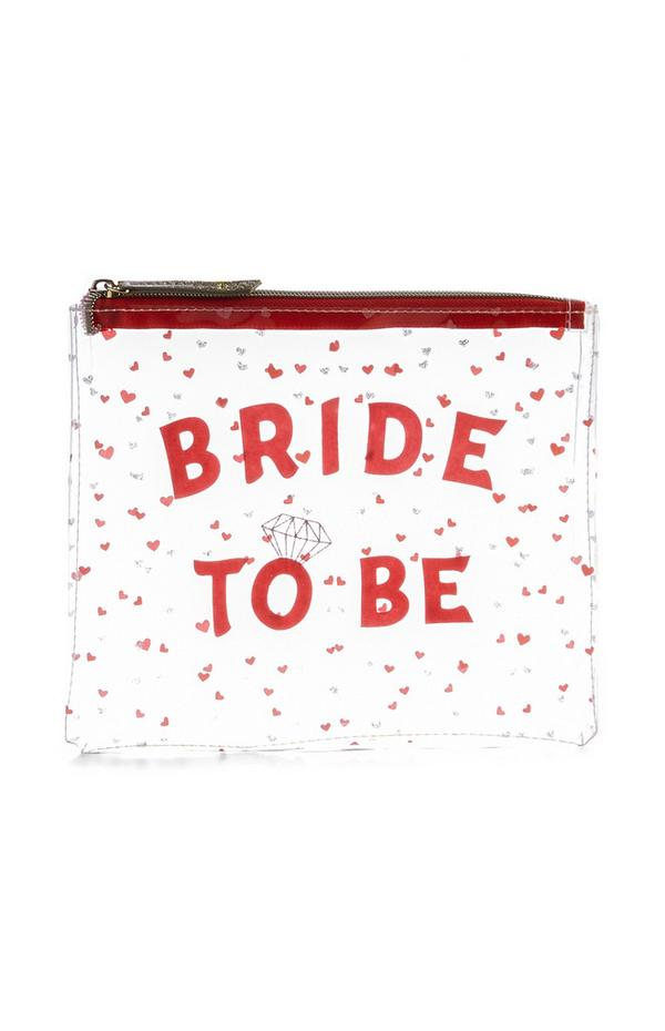 Bride To Be Slogan Perspex Pouch Bag