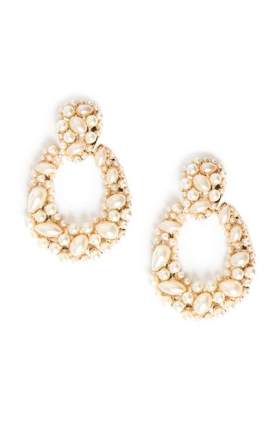 Mixed Pearl Oval Statement Earrings
