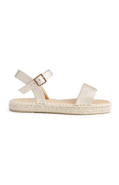 Goudkleurige sandalen met enkelbandje