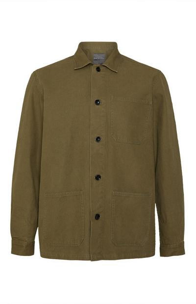 Kaki delovna jakna z gumbi