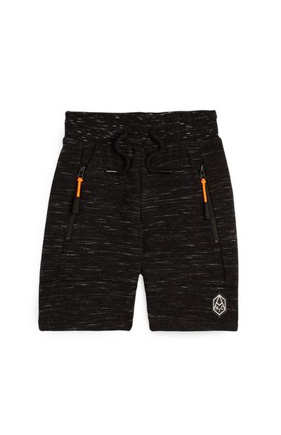 Younger Boy Black Texture Shorts