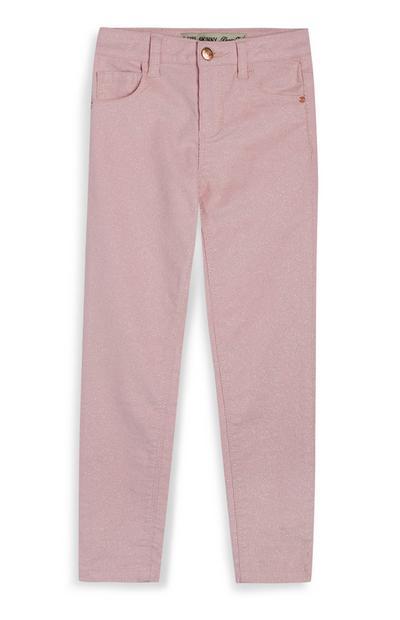 Rosa Skinny Jeans mit Glitzer (kleine Mädchen)