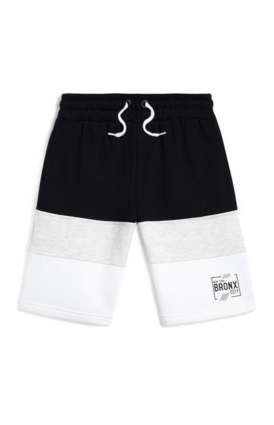 Older Boy Black And White Colourblock Shorts