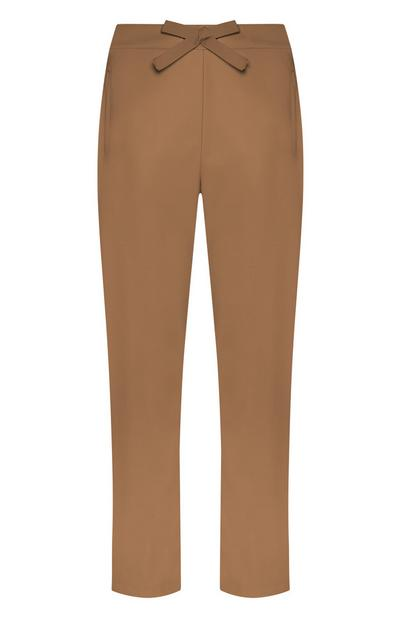 Brown Loose Bow Trousers