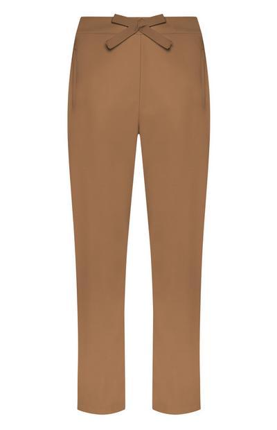Pantalon marron ample à nœud