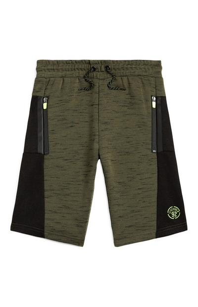 Older Boy Olive Zip Pocket Shorts